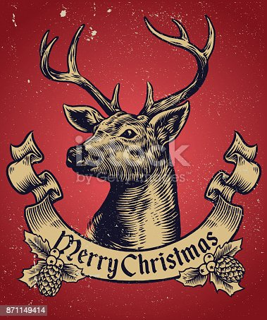 vector of Hand Drawing style of christmas deer with text banner