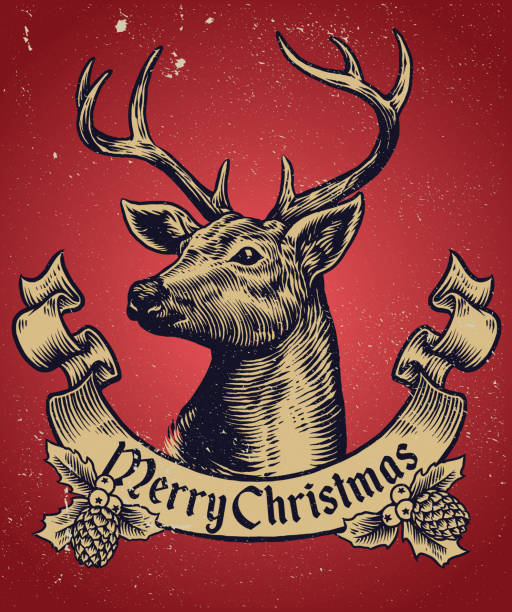 hand-zeichnung-stil von weihnachten hirsch mit text-banner - hirsch stock-grafiken, -clipart, -cartoons und -symbole