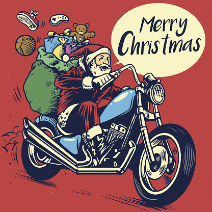hand drawing style of santa claus ride a motorcycle to delivering the christmas gift