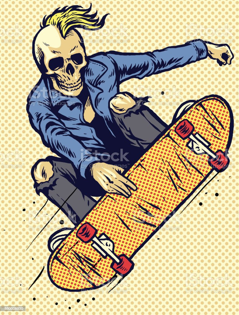 hand drawing style skull play skateboarding vector art illustration