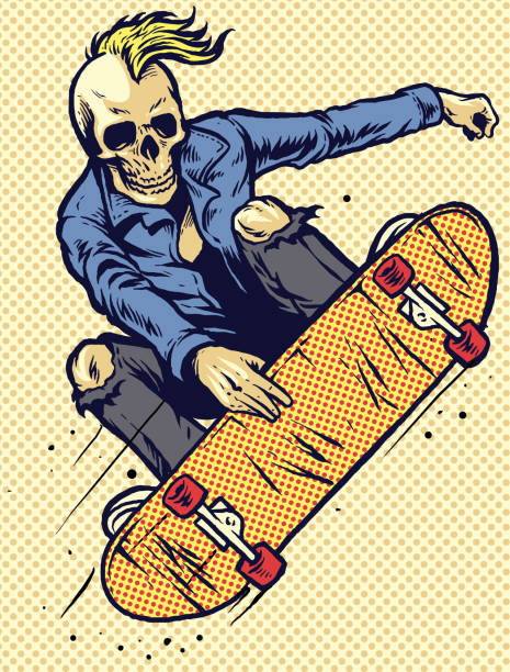 髑髏スタイル手の図面は、スケート ボードを再生します。 - スケートボード点のイラスト素材/クリップアート素材/マンガ素材/アイコン素材