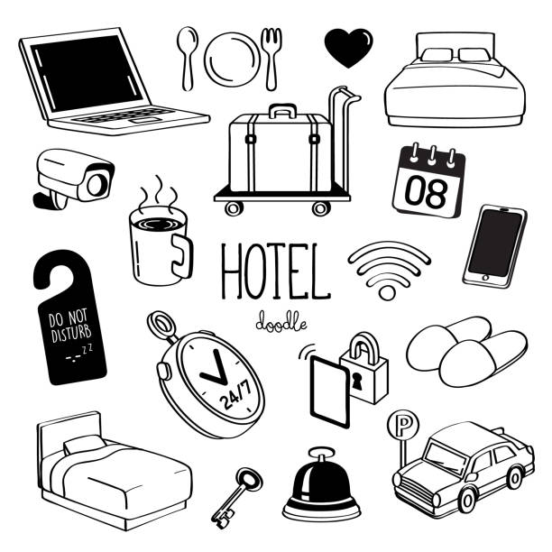 hand drawing styles for hotel items. doodle hotel service. - save the date calendar stock illustrations, clip art, cartoons, & icons
