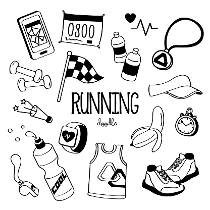 Hand drawing styles for running items. Doodle running.