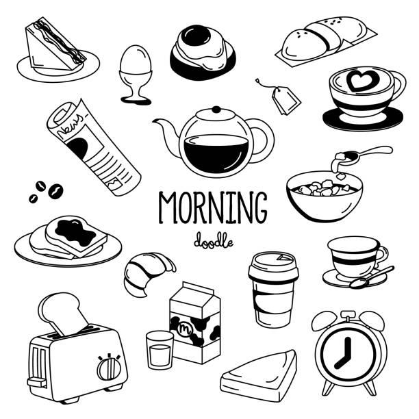 illustrazioni stock, clip art, cartoni animati e icone di tendenza di hand drawing styles morning things. morning doodle. - corn flakes
