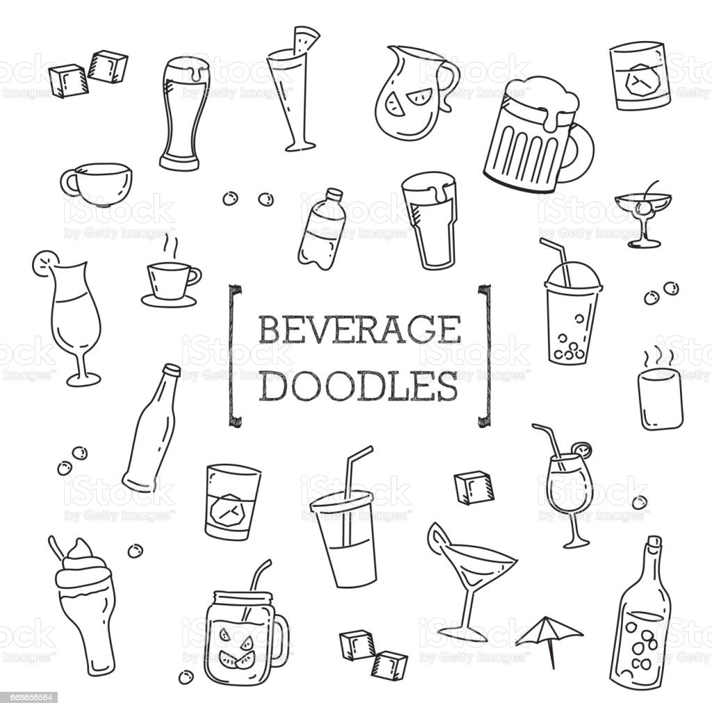Hand drawing styles of Beverage. vector art illustration