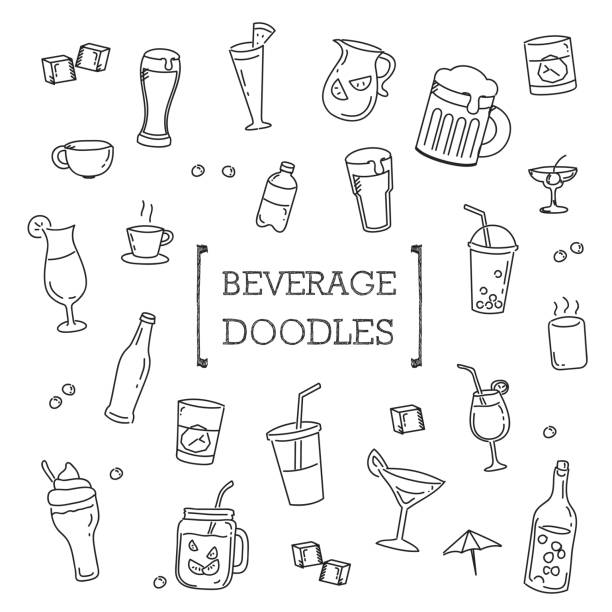 hand drawing styles of beverage. - alcohol drink drawings stock illustrations