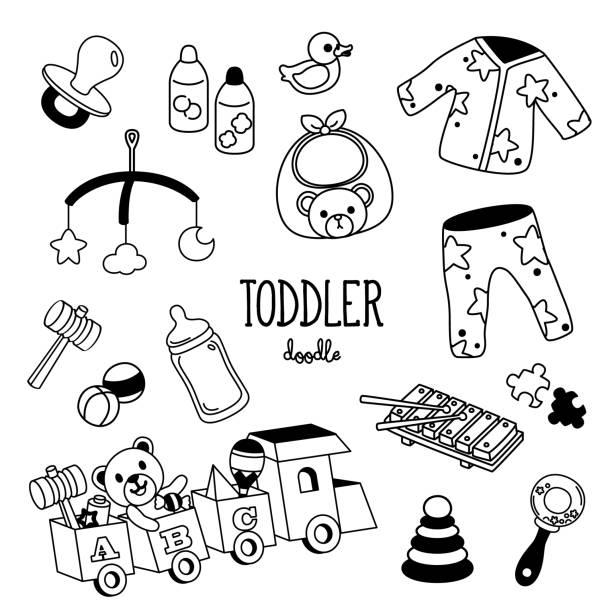 手描きのスタイル幼児アイテム。幼児落書き。 - ベビーフード点のイラスト素材/クリップアート素材/マンガ素材/アイコン素材