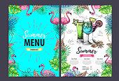 Hand drawing summer menu design with flamingo and tropic leaves. Restaurant menu