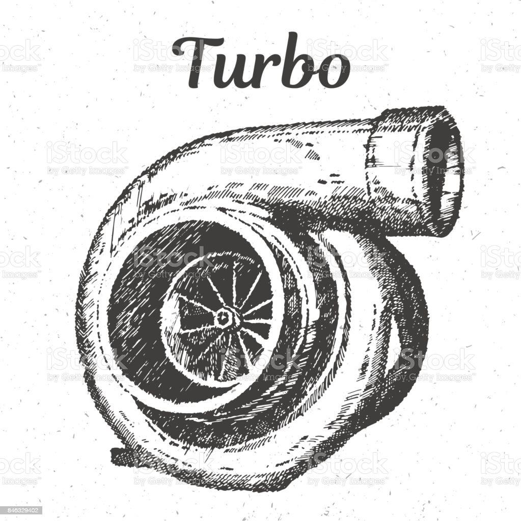 Handzeichnung Turbolader Motor isoliert Vektor-illustration – Vektorgrafik