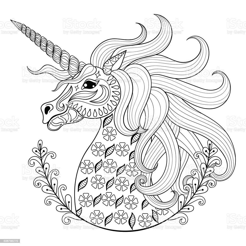 Mano Dibujo Unicornio Para Colorear Un Adulto Estrés Páginas Artis ...