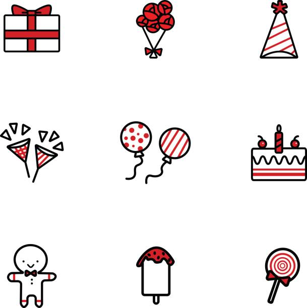 Hand drawing vector doodle icons set of Birthday elements. vector art illustration