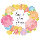 Hand drawing vector floral frame with lettering SAVE THE DATE
