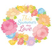 Hand drawing vector floral frame with lettering SUMMER LOVE