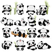 hand drawing cute panda with a lot of variation