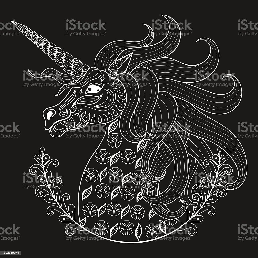 Mano Dibujo Blanco Unicornio Para Colorear Un Adulto Páginas Tensión ...