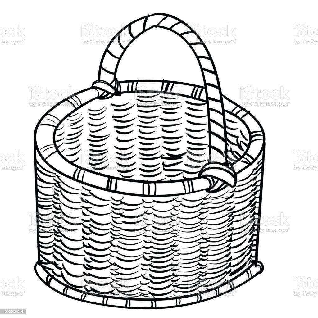 Hand Drawing Wicker Basketsvector Simple Line Stock Vector Art