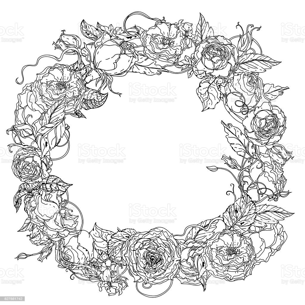 Dessin à La Main Couronne Noir Et Blanc Fleur De Mandala