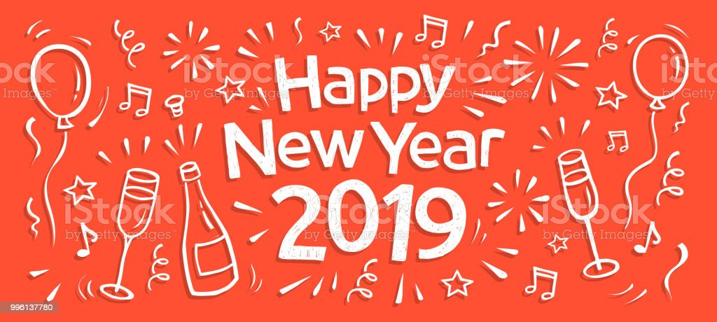 hand drawn 2019 happy new year banner royalty free hand drawn 2019 happy new year