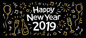 hand drawn 2019 happy new year doodle banner with fireworks, balloons, a bottle and glasses of champagne, confetti,