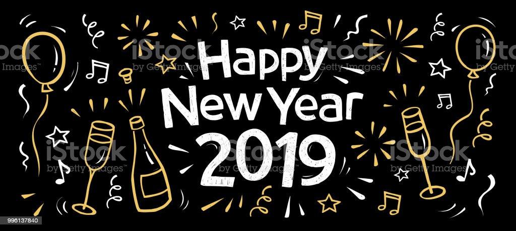 mão desenhada 2019 feliz ano novo banner - ilustração de arte em vetor