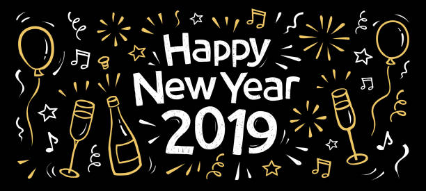 hand drawn 2019 happy new year banner hand drawn 2019 happy new year doodle banner with fireworks, balloons, a bottle and glasses of champagne, confetti, fireworks illustrations stock illustrations