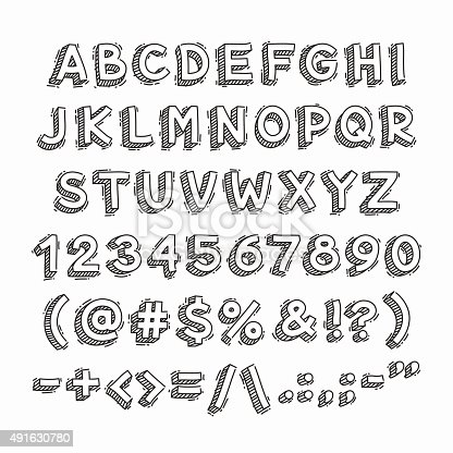 istock Hand Drawn 3D Letters and Numbers 491630780