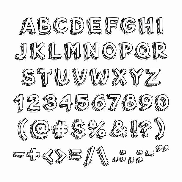 Hand Drawn 3D Letters and Numbers Hand Drawn 3D Letters and Numbers. Isolated on white background. Clipping paths included in JPG file. alphabet drawings stock illustrations