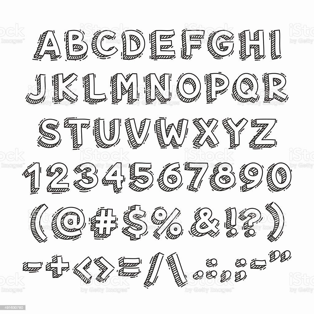 Руки Drawn 3D буквы и цифры векторная иллюстрация