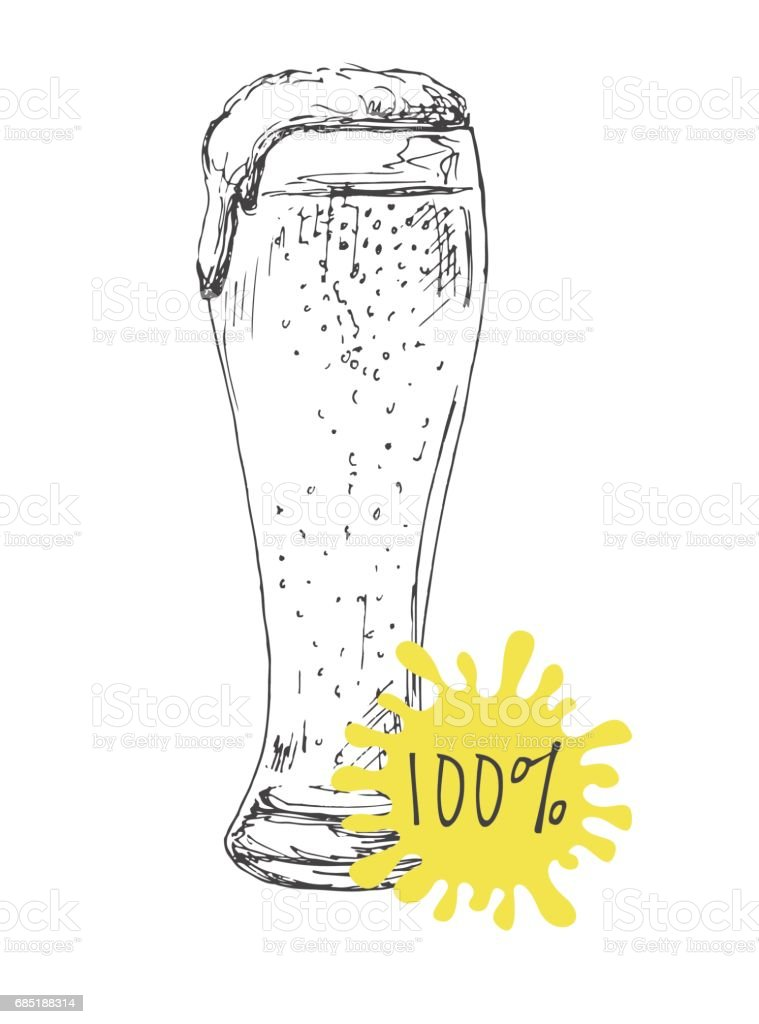Hand drawn a glass of beer isolated on white background. Vector illustration of a sketch style. royalty-free hand drawn a glass of beer isolated on white background vector illustration of a sketch style stock vector art & more images of alcohol