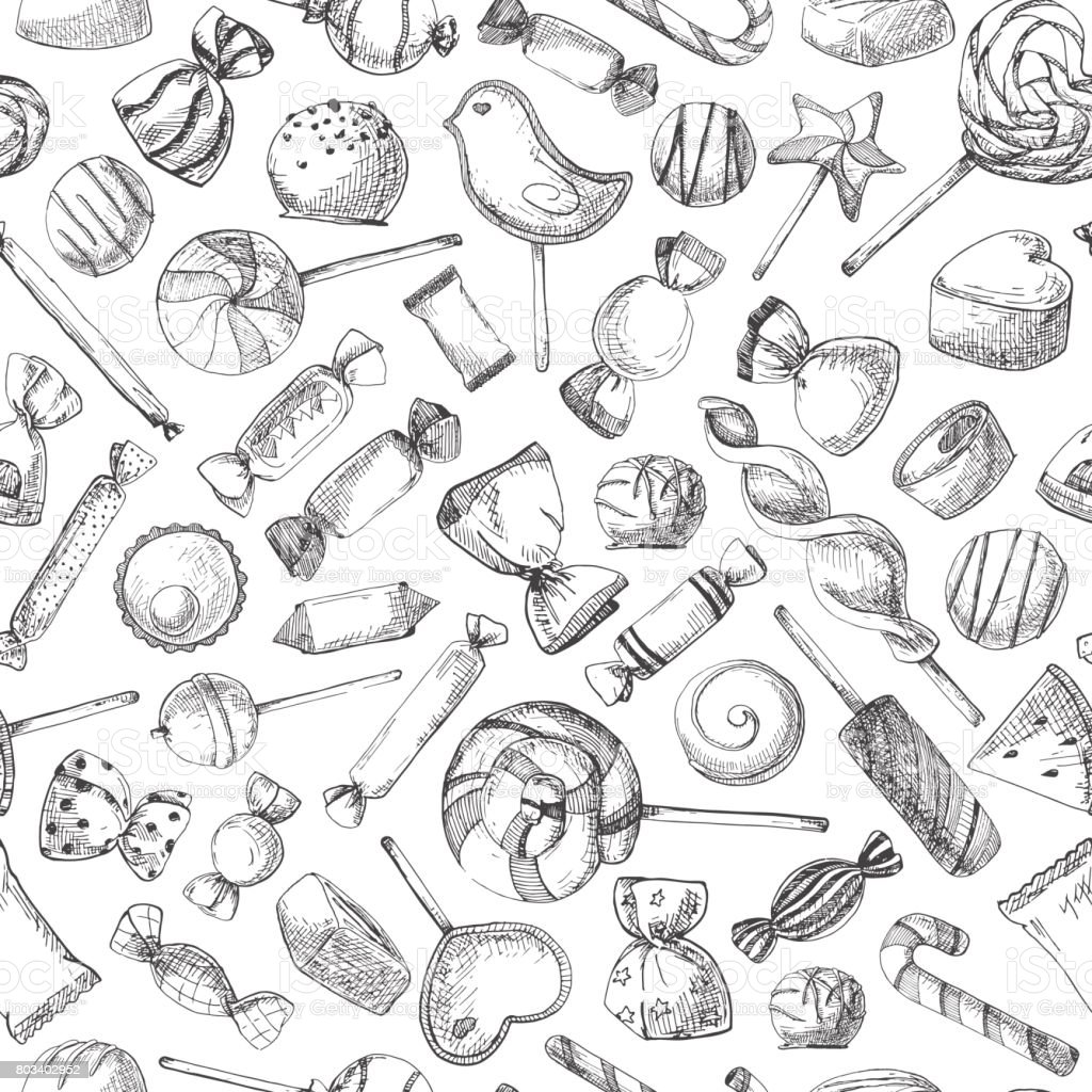 Hand drawn a seamless pattern with different sweets. Vector illustration of a sketch style.