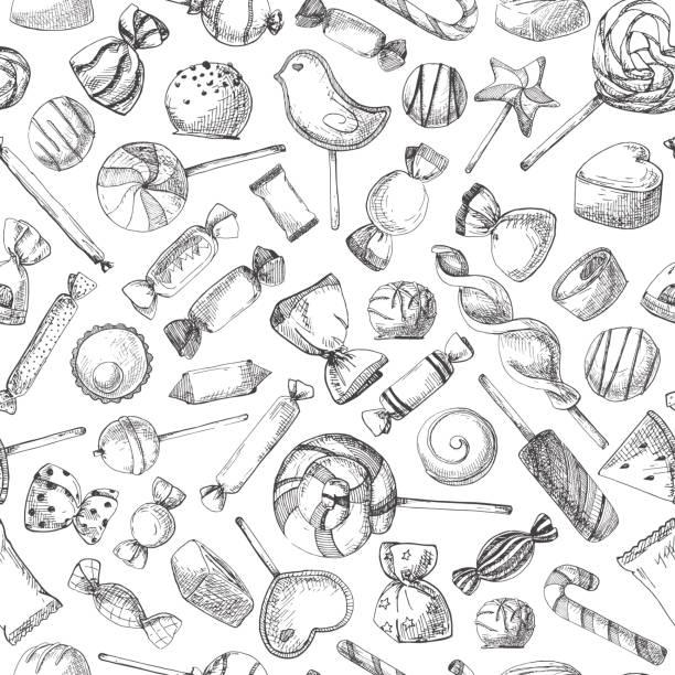 Hand drawn a seamless pattern with different sweets. Vector illustration of a sketch style. Hand drawn a seamless pattern with different sweets. Vector illustration of a sketch style. caramel stock illustrations
