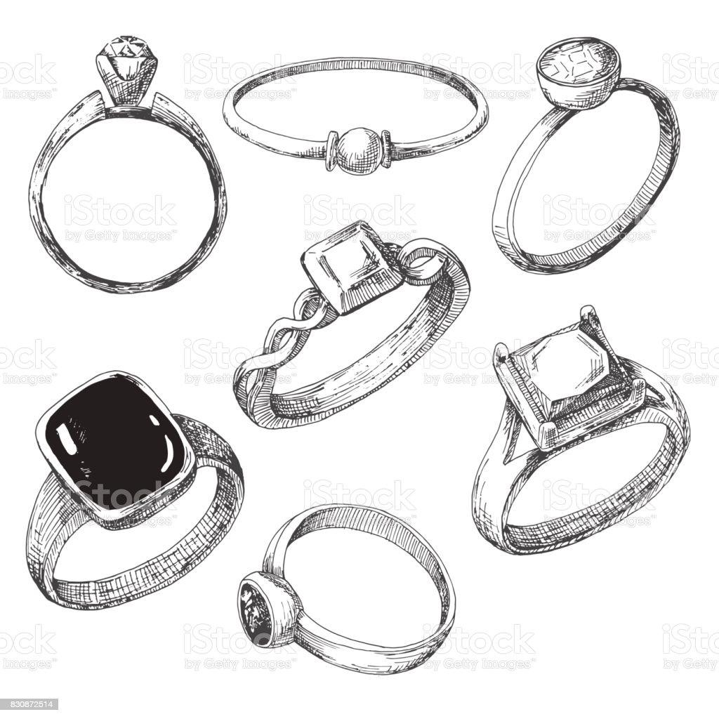 Hand gezeichnet, eine Reihe von verschiedenen Schmuck Ringe. Vektor-Illustration eines Skizze-Stils. – Vektorgrafik