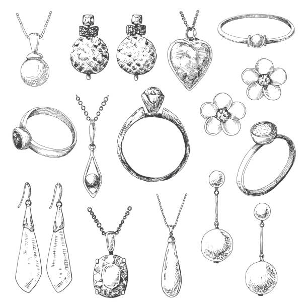 hand drawn a set of different jewelry. vector illustration of a sketch style. - jewelry stock illustrations