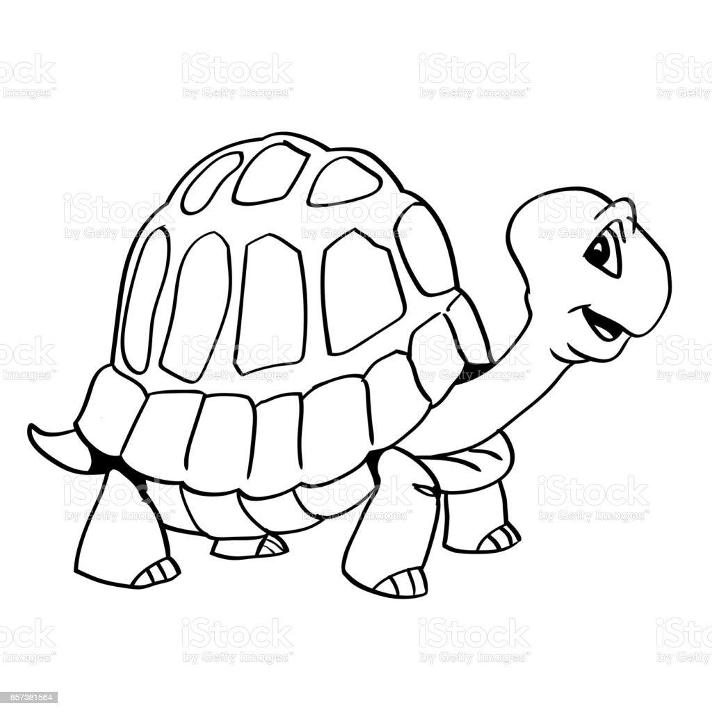 Bir Kaplumbağa çizgi Filmvektör çizim El çekilmiş Stok Vektör Sanatı