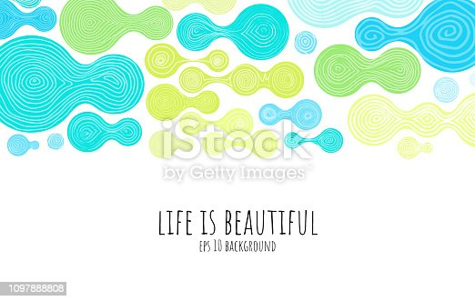 Hand drawn abstract background - cheerful & colorful vector illustration. Layers and global colors used.