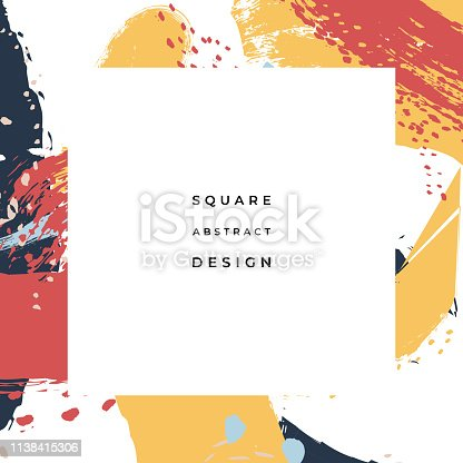 Hand drawn abstract background with artistic brush strokes and paint stains. Vector design for card, banner or social media post.