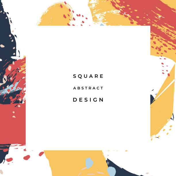 hand drawn abstract background with artistic brush strokes and paint stains. vector design for card, banner or social media post. - kultura młodości stock illustrations