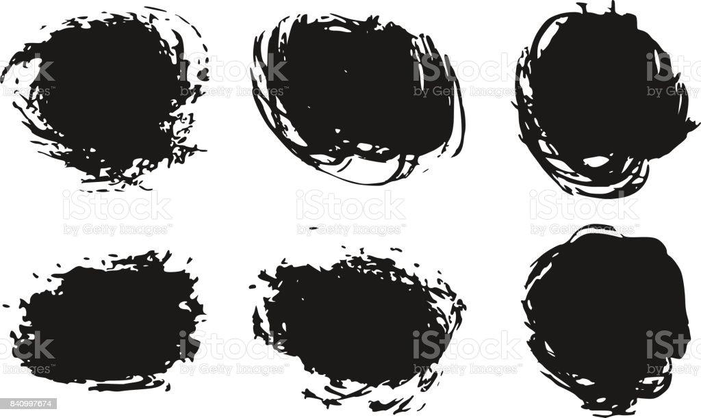 El çekilmiş Soyut Siyah Boya Fırça Darbeleri Kutusu Yuvarlak Daire