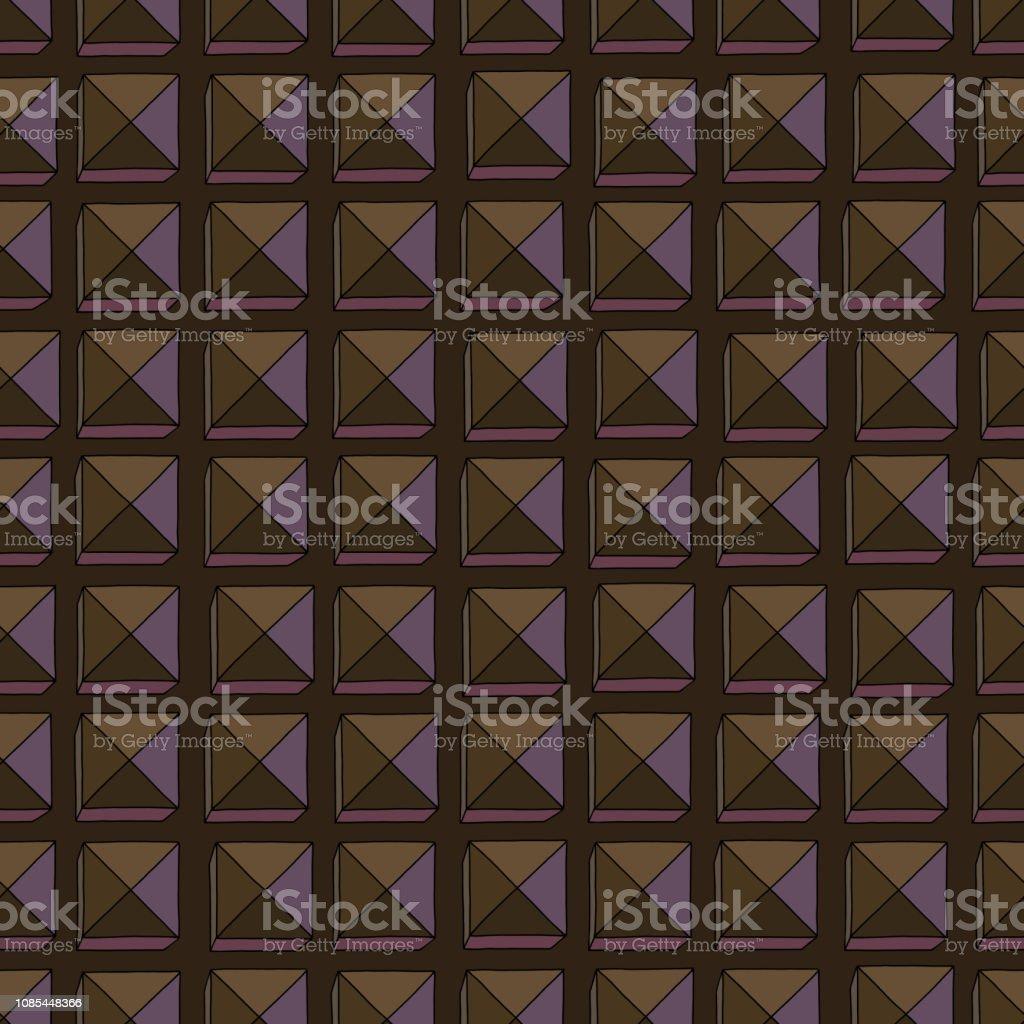 手描きの抽象チョコレート背景シームレス パターン様式化された正方形