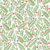 Hand drawn abstract Christmas foliage, holy berries on white background vector seamless pattern. Winter Holiday Print