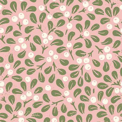 Hand Drawn Abstract Christmas Mistletoe Foliage Horizontal Vector Seamless Pattern