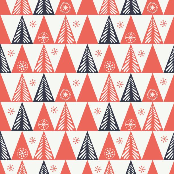 ilustrações de stock, clip art, desenhos animados e ícones de hand drawn abstract christmas tree, snowflake, triangles vector seamless pattern background. winter holiday scandinavian - hygge
