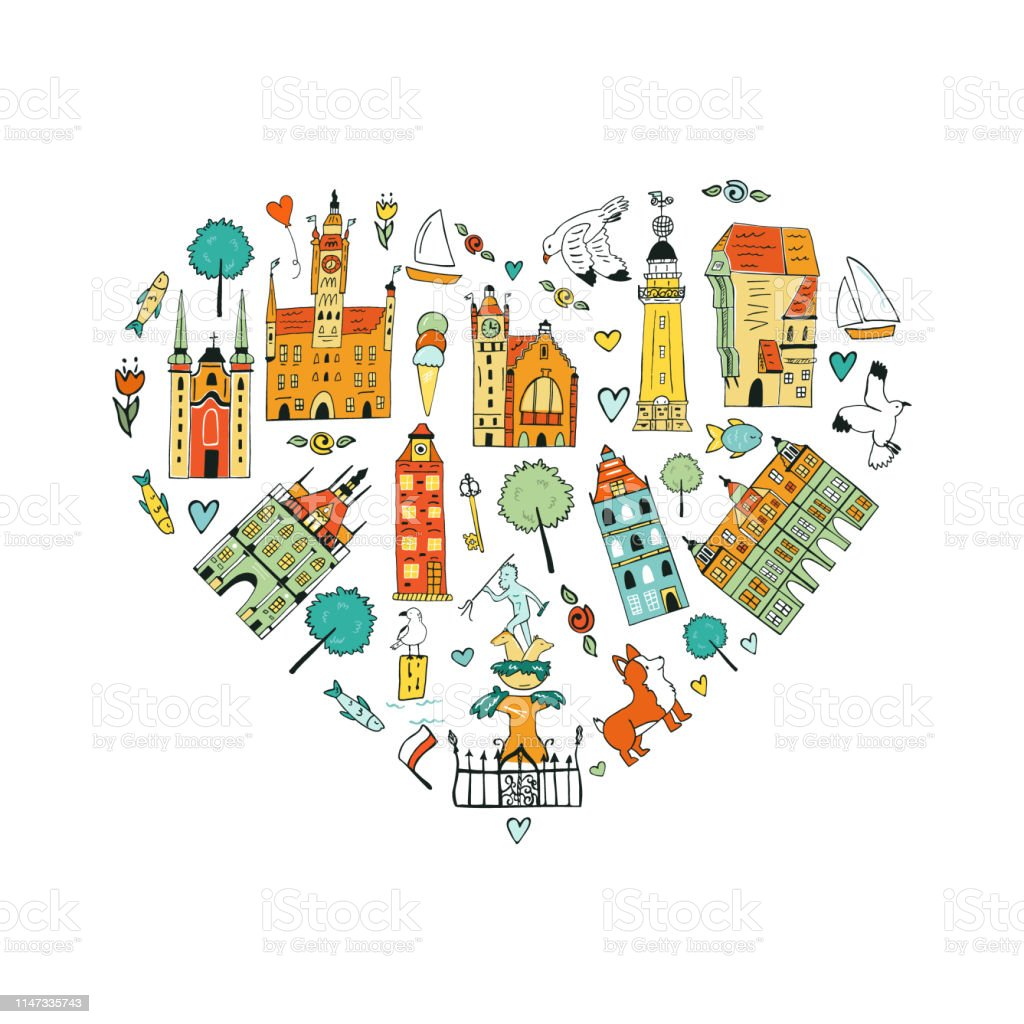 Hand drawn abstract design of Gdansk.