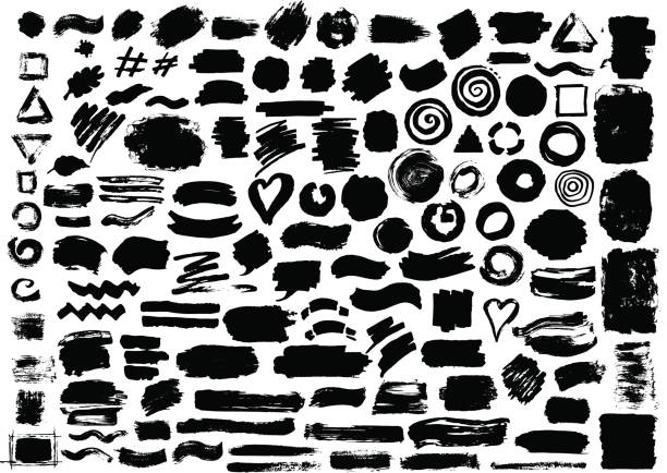 hand drawn abstract grunge paint dry brush ink watercolor marker strokes vector art illustration