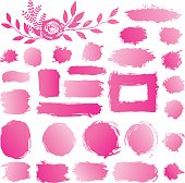 手描き抽象を構成する、化粧品の汚れ、ペイント ブラシ ストローク。ベクトルは、白い背景で隔離の塗料ピンク グラデーションのアクリルが塗抹標本のコレクションを設定します。