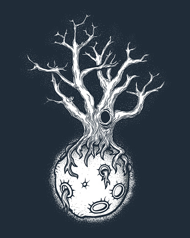 Hand drawn abstract mystery tree on the moon in deep space.