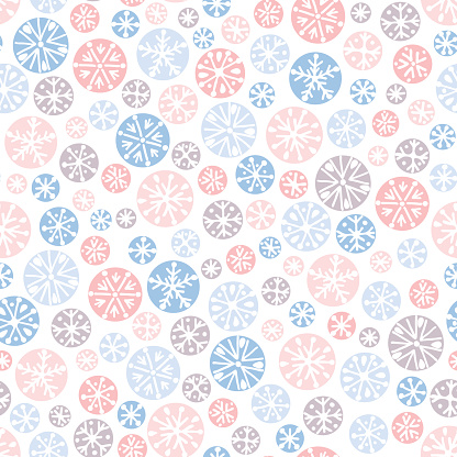 Hand drawn abstract pastel Christmas snowflakes vector seamless pattern background. Winter Holiday Nordic. Hygge