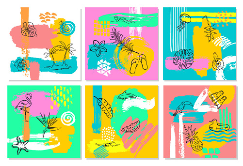 hand drawn abstract quirky colorful summer time vacation beach paint brush art stroke textured and outlined collage card background set collection