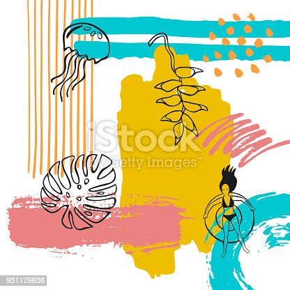 hand drawn abstract quirky summer time vacation beach paint brush art stroke textured and outlined collage card background with floating woman jelly fish heliconia monstera leaf