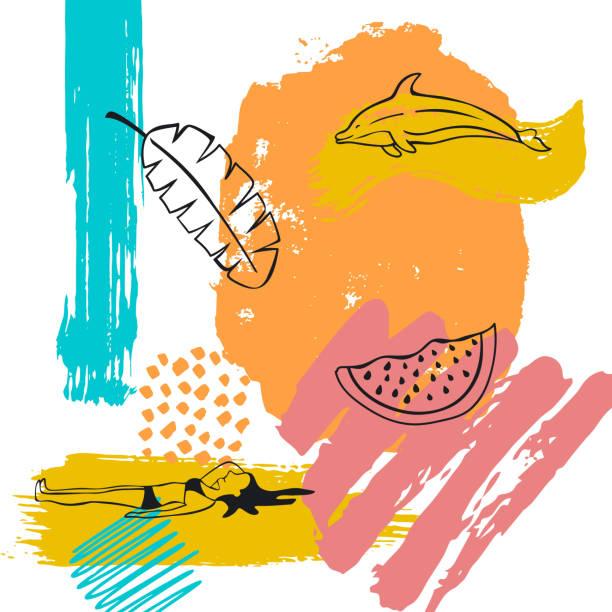 stockillustraties, clipart, cartoons en iconen met hand getekende abstracte eigenzinnige zomertijd vakantie strand verf kunst penseelstreek getextureerde en schetste collage kaart achtergrond met banaan blad dolfijn watermeloen en zonnebaden meisje doodles - woman water